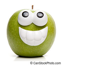 A very happy Granny Smith green apple.