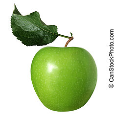granny smith apple - Granny smith green apple with leaf...