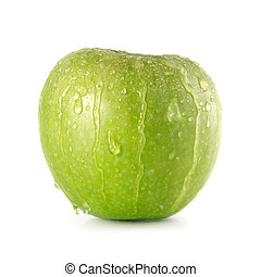 Granny Smith Apple - Green Granny Smith apple with water...