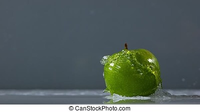 Granny Smith Apple, malus domestica, Fruit falling on Water...