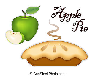 Granny Smith Apple Pie - Traditional fresh baked steaming...