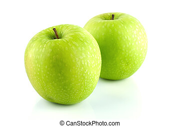 Granny Smith apple. - Two Granny Smith apple on white...