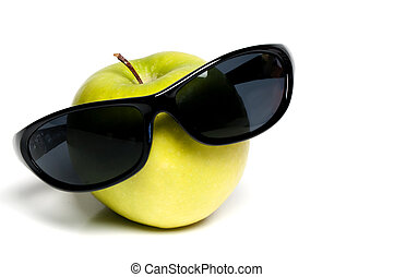Granny Smith Apple with Sunglasses - A close-up of a Granny ...