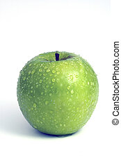 Granny Smith Apple with water mist and droplets on white...