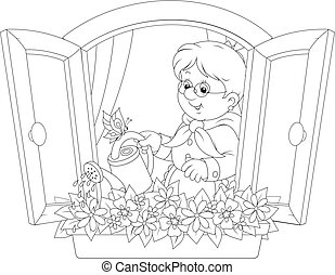 Granny watering flowers - Grandmother watering flowers on a...