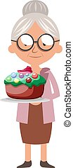 Granny with cake, illustration, vector on white background.