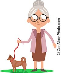 Granny with dog, illustration, vector on white background.