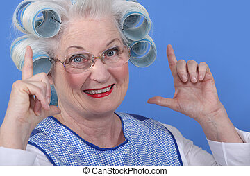 Granny with her hair in rollers