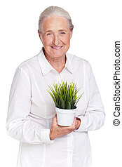 Granny with plant