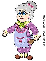 Granny with spoon - isolated illustration.