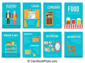 Grannys day brochure cards set. old character people template of flyear, magazine, poster, book cover, banners. grandmother and grandfather house invitation concept background. Layout modern page