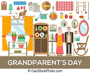Grannys day icons design illustration set. Flat old character people and adult items background concept. Vector elderly grandmother and grandfather house