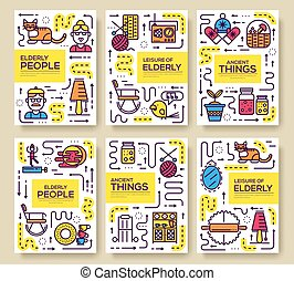 Grannys day thin line icons design cards. Outline old people and adult items background concept. Template of flyear, magazine, poster, book cover, banners. Vector elderly grandmother and grandfather house