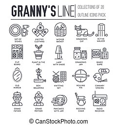 Grannys day thin line icons design illustration set. Flat outline old character people and adult items background concept. Vector elderly grandmother and grandfather house