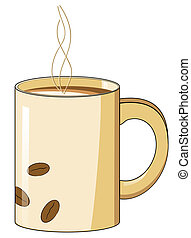grano de café, caliente, jarra, diseño, vapor