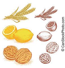 grano, limones, nueces