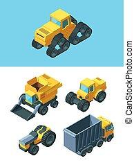 grano, máquina, sembradora, industria, agrícola, caricatura...