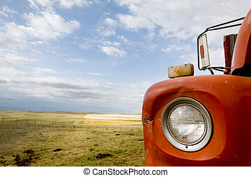 grano, resumen, camión
