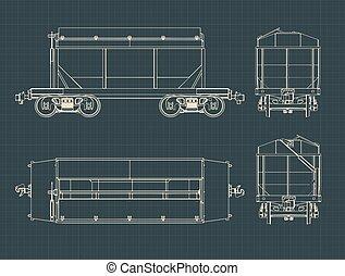 grano, vagón, planos, tolva