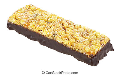 Granola bar with berries and milk chocolate isolated on a white background. Healthy chocolate cereal bar.