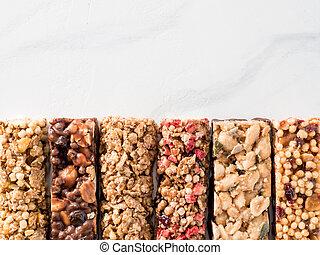 Set of different granola bars