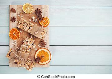 granola, barras, com, fruta secada
