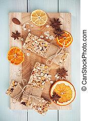 granola, barras, e, fruta secada