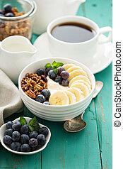 Granola bowl with yogurt and banana