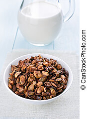 Granola cereal and milk