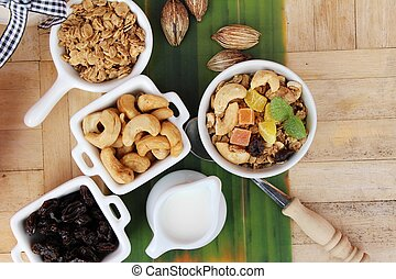 Granola cereal mix for health with milk