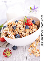 granola, jagoda, mleczny