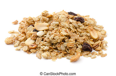 Pile of granola cereal with raisins and nuts isolated on white
