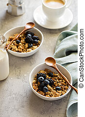 Granola with fresh berries for breakfast