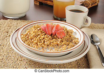 Granola with strawberries