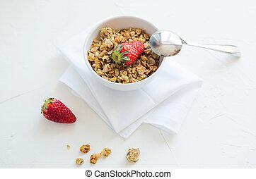 Granola with Strawberries Milk and Honey Breakfast Healthy Food