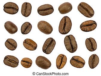 granos de café, aislado, asado