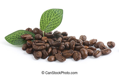 granos de café, fondo blanco