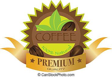 granos de café, ilustración, etiqueta