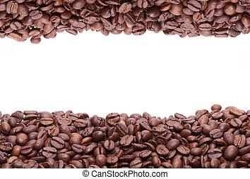 granos de café, plano de fondo, asado, llenado, parcialmente