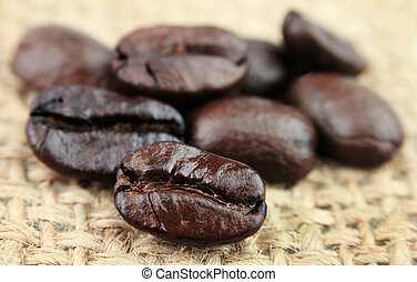 granos de café, primer plano