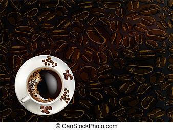 granos de café, taza