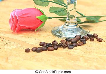 granos de café, y, rosas rosa