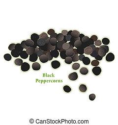 granos de pimienta negros, especia