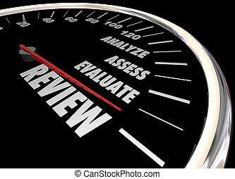 granska, analysera, utvärdera, fastställa, hastighetsmätare, 3, illustration