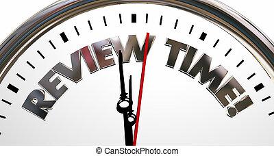 granska, tid klocka, utvärdering, tjalla, ord, 3, illustration
