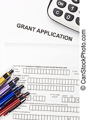 Directly above photograph of a grant application.