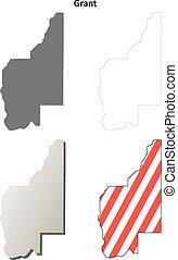 Grant County, Washington outline map set