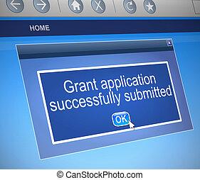 Grants application. - Illustration depicting a computer...