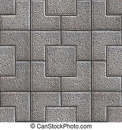 Gray Granular Pavement of Squares. Seamless Tileable Texture.