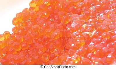 Granular salted caviar Pacific wild red fish as food...